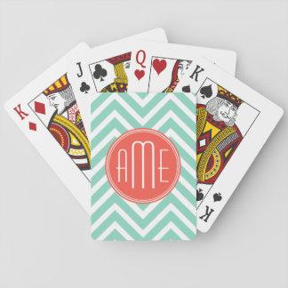 Chic Aqua Green Chevron and Orange Custom Monogram Playing Cards