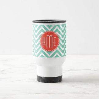 Chic Aqua Green Chevron and Orange Custom Monogram Travel Mug