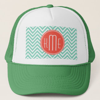 Chic Aqua Green Chevron and Orange Custom Monogram Trucker Hat