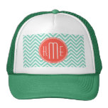 Chic Aqua Green Chevron and Orange Custom Monogram Trucker Hat