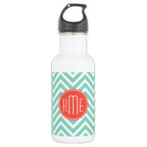 Chic Aqua Green Chevron and Orange Custom Monogram Water Bottle