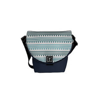 Chic Aqua Lines and Dots Messenger Bag