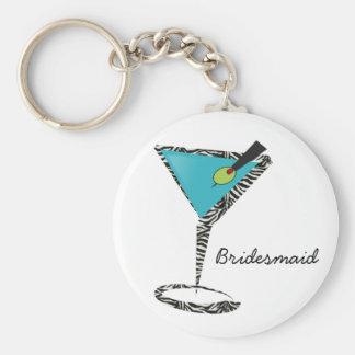chic aqua martini basic round button keychain