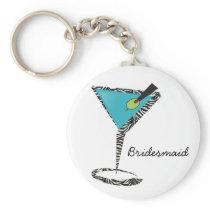 chic aqua martini keychain