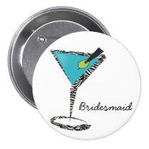 chic aqua martini pinback button