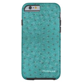 Chic Aqua Ostrich Leather Look iPhone 6 Case