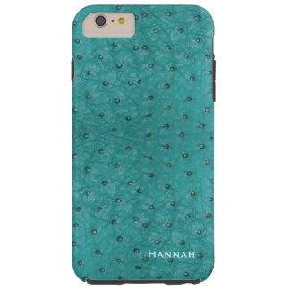 Chic Aqua Ostrich Leather Look iPhone 6 Plus Case