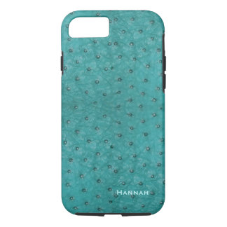 Chic Aqua Ostrich Leather Look iPhone 7 Case