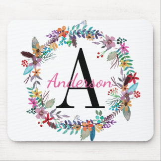 Chic Aqua, Pink, and Blue Floral Wreath Monogram Mouse Pad