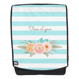 Chic Aqua Stripes Feminine Floral and Name Backpack