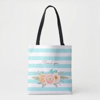 Chic Aqua Stripes Feminine Floral and Name Tote Bag