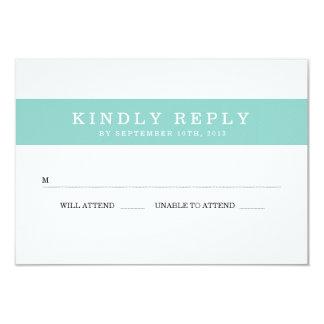 Chic Aqua Stripes Wedding RSVP 3.5x5 Paper Invitation Card
