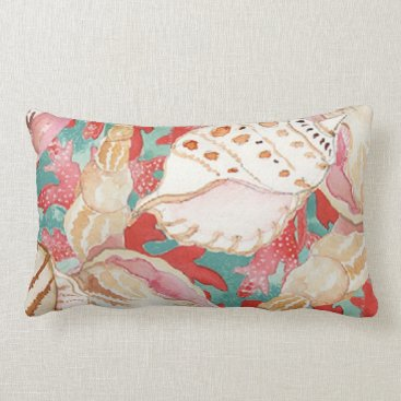 Beach Themed Chic Aqua Turquoise Coral Red Seashells Pattern Lumbar Pillow