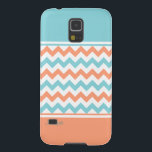 "Chic Aquamarine &amp; Coral Samsung Galaxy Nexus Case<br><div class=""desc"">Stylish Samsung Galaxy Nexus case done in a trendy coral, white, and aquamarine chevron pattern, in the middle, with solid aquamarine, on top, and solid coral, on the bottom. Lovely way to be stylish and protect your phone at the same time. Personalize the aqua script text, at the bottom, for...</div>"