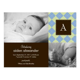 Chic Argyle Baby Boy Birth Announcement Postcard