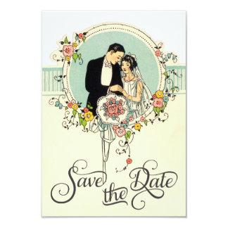 Chic Art Deco 1920's Bride & Groom Save The Date 3.5x5 Paper Invitation Card