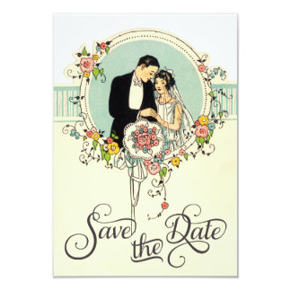 Chic Art Deco 1920's Bride & Groom Save The Date Card