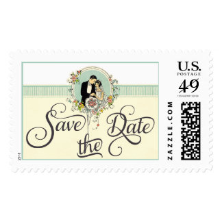 Chic Art Deco 1920's Bride & Groom Save The Date Postage