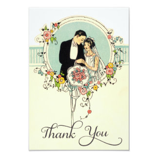 Chic Art Deco 1920's Bride & Groom Thank You Card