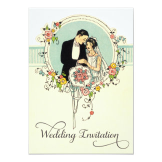Chic Art Deco 1920's Bride & Groom Wedding Card