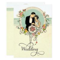 Chic Art Deco 1920's Bride & Groom Wedding Invitation