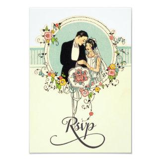 Chic Art Deco 1920's Bride & Groom Wedding Rsvp 3.5x5 Paper Invitation Card