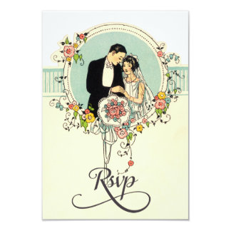 Chic Art Deco 1920's Bride & Groom Wedding Rsvp Card