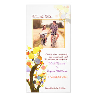 Chic Art Nouveau Trees Wedding Save the Date Card