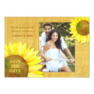 "Chic Autumn Sunflowers Floral Photo Save the Date 5"" X 7"" Invitation Card"