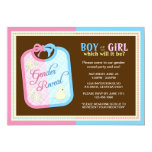 "Chic Baby Bib Gender Reveal Party 5"" X 7"" Invitation Card"