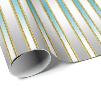 Chic Baby Blue Stripes on Silver Background Wrapping Paper