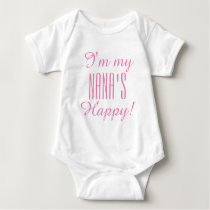 "CHIC BABY_ ""NANA'S HAPPY""  BODYSUIT_PINK TEXT BABY BODYSUIT"