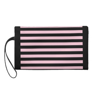 Chic Baby Pink and Black Striped Wristlet Clutches