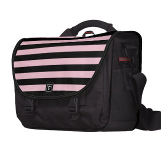 Chic Baby Pink and Black Striped Commuter Bag