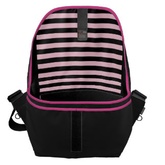Chic Baby Pink and Black Striped Messenger Bag