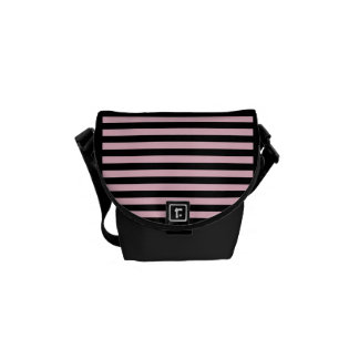 Chic Baby Pink and Black Striped Courier Bags