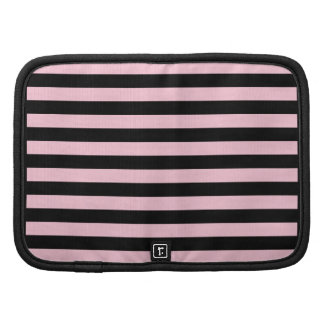 Chic Baby Pink and Black Striped Organizers