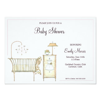 Chic Baby Room 5.5x7.5 Paper Invitation Card