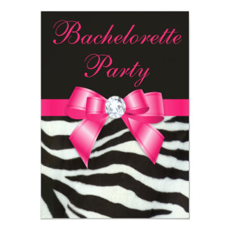 Chic Bachelorette Party Zebra Stripes Hot Pink Bow 5x7 Paper Invitation Card