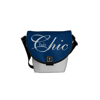 "CHIC BAG_""tres Chic"" WHITE ON NAVY BLUE Courier Bags"