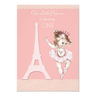 Chic Ballerina Eiffel Tower Chevrons 1st Birthday 5x7 Paper Invitation Card