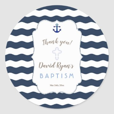 Beach Themed Chic Baptism Nautical Navy Waves Anchor Classic Round Sticker