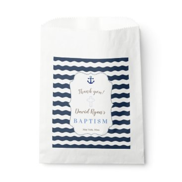 Beach Themed Chic Baptism Nautical Navy Waves Anchor Favor Bag