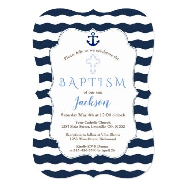 Beach Themed Chic Baptism Nautical Navy Waves Anchor Invite