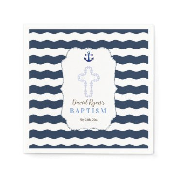 Beach Themed Chic Baptism Nautical Navy Waves Anchor Paper Napkin