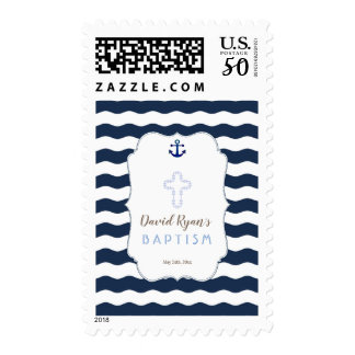 Chic Baptism Nautical Navy Waves Anchor Postage