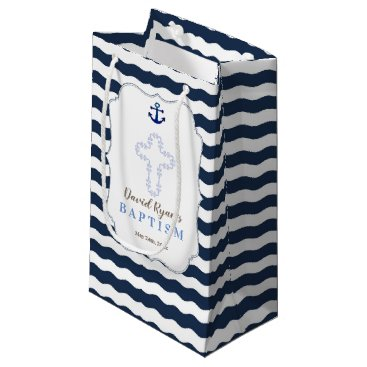 Beach Themed Chic Baptism Nautical Navy Waves Anchor Small Gift Bag