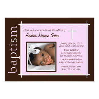 Chic Baptism Photo Invite [pink]