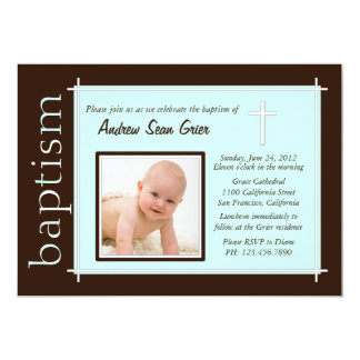 Chic Baptism Photo Invite [teal]