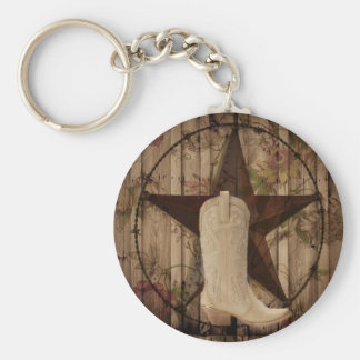 Chic barn wood Texas Star Western country cowgirl Keychain